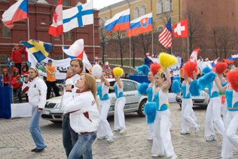 Церемония передачи автомобилей «Шкода» организационному комитету Чемпионата мира по хоккею 2007 года